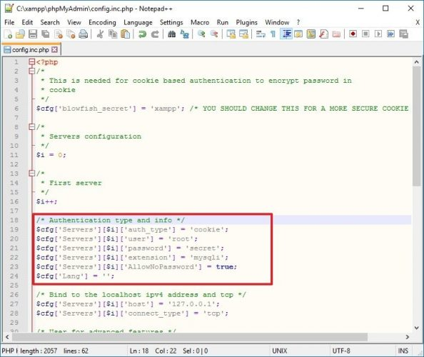 Config.inc.php Tipo e informazioni di autenticazione