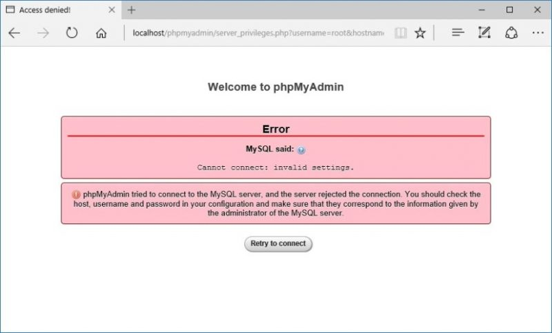 Accesso phpMyAdmin negato dopo aver impostato la password di root