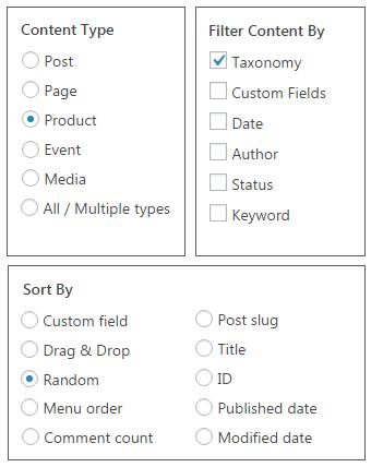 Selezionare il tipo di contenuto - Content Visualizzazioni Pro for WordPress