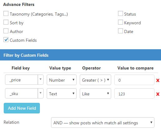 filtri Advance - Contenuto Visite Pro for WordPress