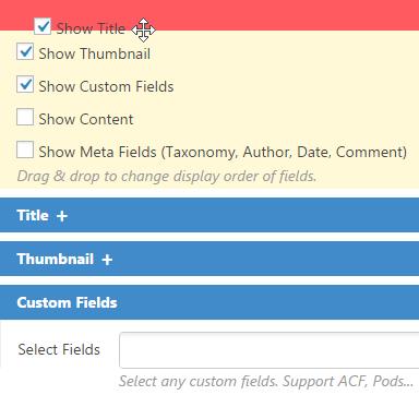 Mostra campi - Contenuto Visite Pro for WordPress